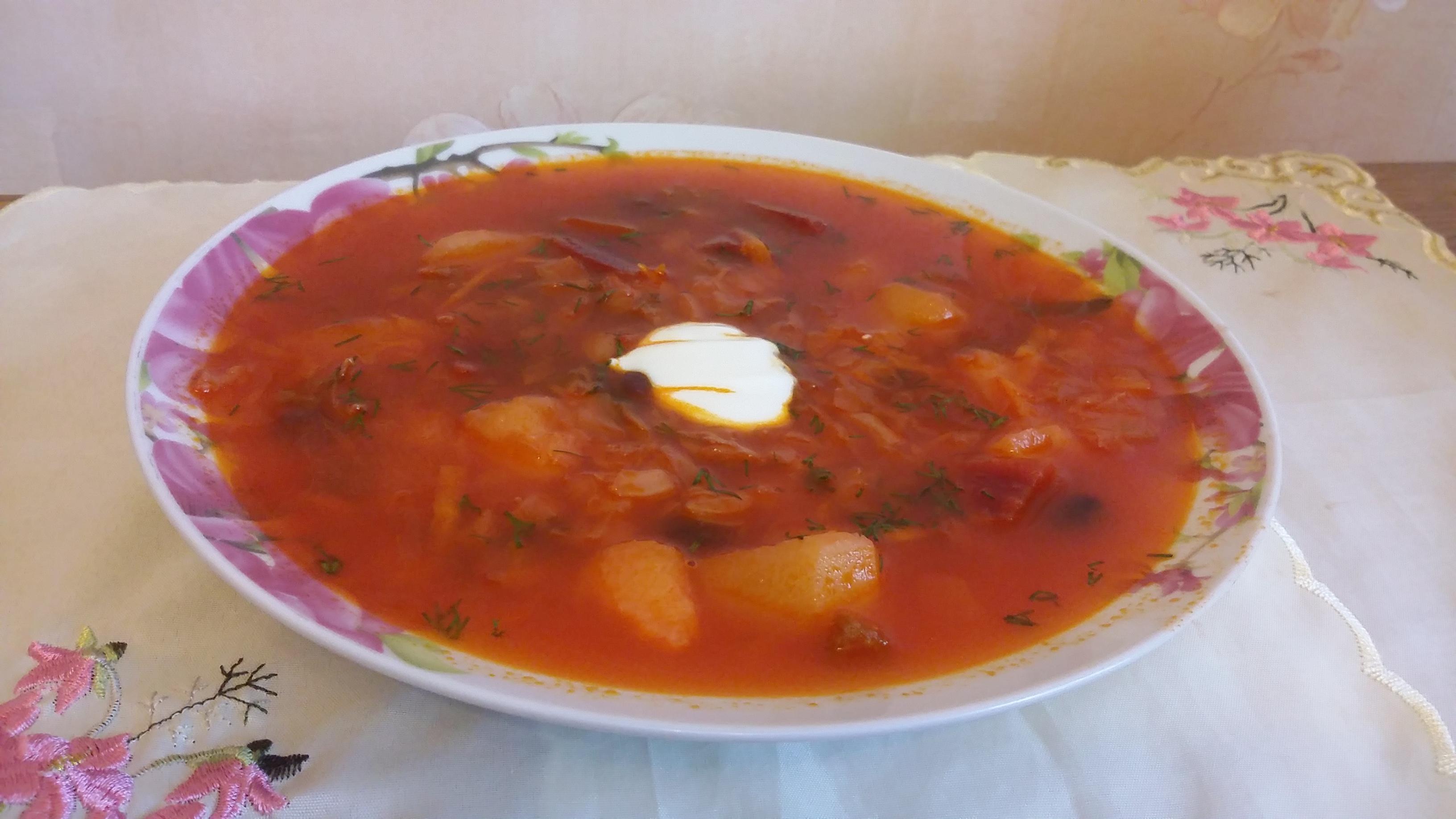Борщ с грибами сушеными рецепт пошагово в